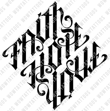 Faith / Hope / Love Diamond Ambigram Tattoo Instant Download (Design + Stencil) - Wow Tattoos