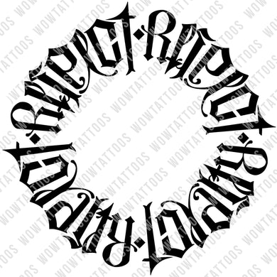 Respect Loyalty Circle Ambigram Tattoo Instant Download (Design + Stencil) - Wow Tattoos
