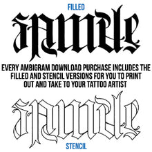 Load image into Gallery viewer, Melancholy Ambigram Tattoo Instant Download (Design + Stencil) STYLE: E - Wow Tattoos