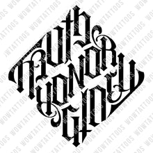 Load image into Gallery viewer, Truth / Honor / Glory Diamond Ambigram Tattoo Instant Download (Design + Stencil) - Wow Tattoos