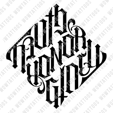Truth / Honor / Glory Diamond Ambigram Tattoo Instant Download (Design + Stencil) - Wow Tattoos