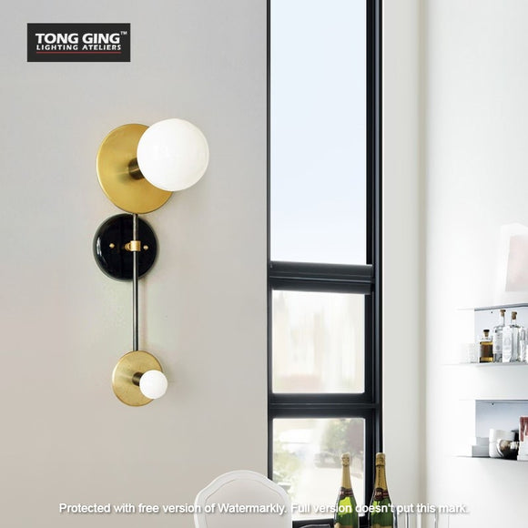Volta Dual Gold and Black Wall Light