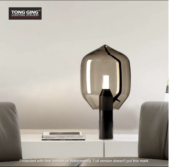 Giuva Grey Glass LED Table Lamp | Modern Design