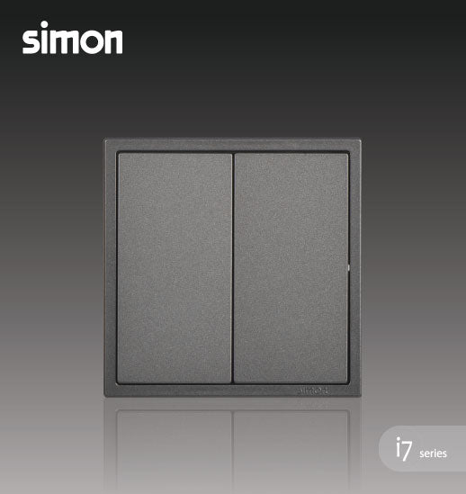 Simon i7 Series 16A 2 Gang 2 Way - Graphite Black