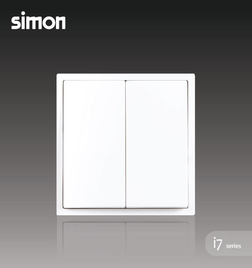 Simon i7 Series 16A 2 Gang 1 Way - Matt White