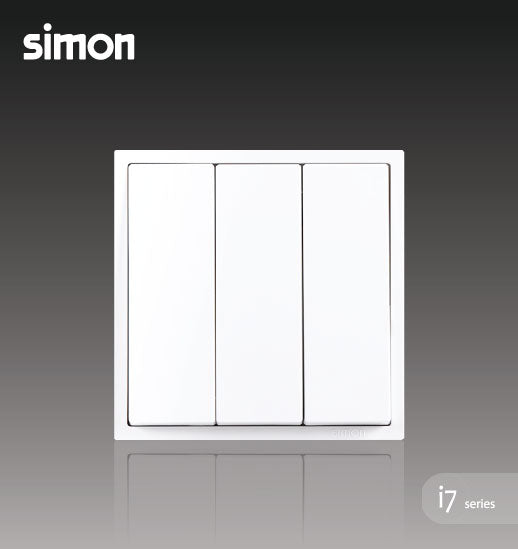 Simon i7 Series 16A 3 Gang 1 Way - Matt White