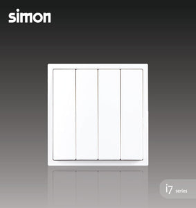 Simon i7 Series 10A 4 Gang 1 Way - Matt White