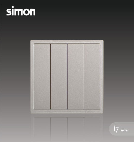 Simon i7 Series 10A 4 Gang 2 Way - Golden Champagne