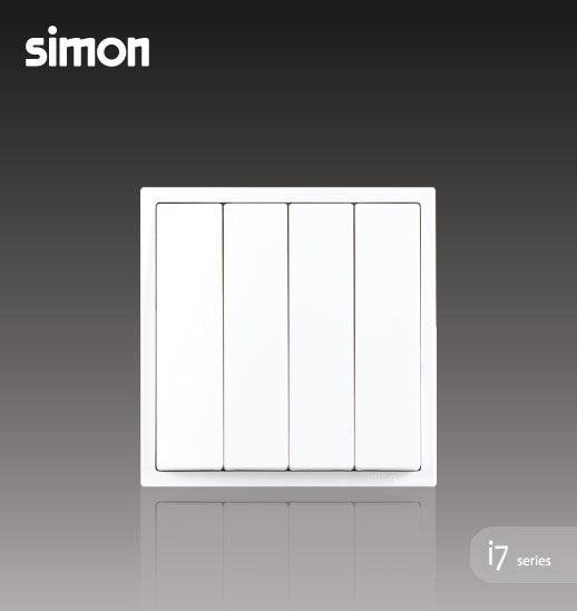 Simon i7 Series 10A 4 Gang 2 Way - Matt White