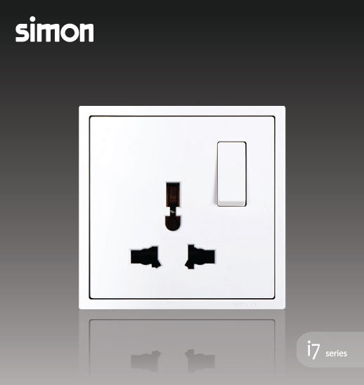 Simon i7 Series 13A Universal Switch Socket Outlet -Matt White