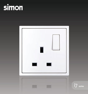 Simon i7 Series 13A Flat Pin Switched Socket Outlet - Matt White