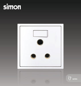 Simon i7 Series 15A Round Pin Switch Socket Outlet - Matt White