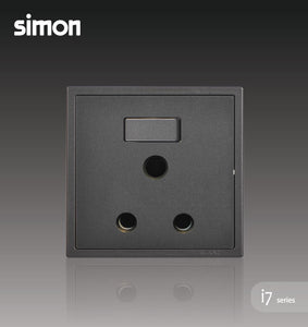 Simon i7 Series 15A Round Pin Switch Socket Outlet - Graphite Black
