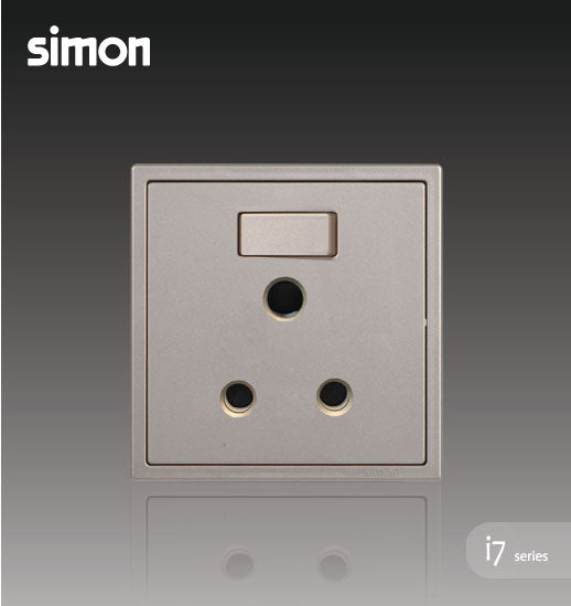 Simon i7 Series 15A Round Pin Switch Socket Outlet - Golden Champagne