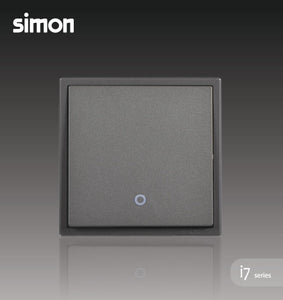 Simon i7 Series 32A 1 Gang 1 Way Double Pole Switch With Blue LED Indicator (Water Heater,Air-Cond) - Graphite Black