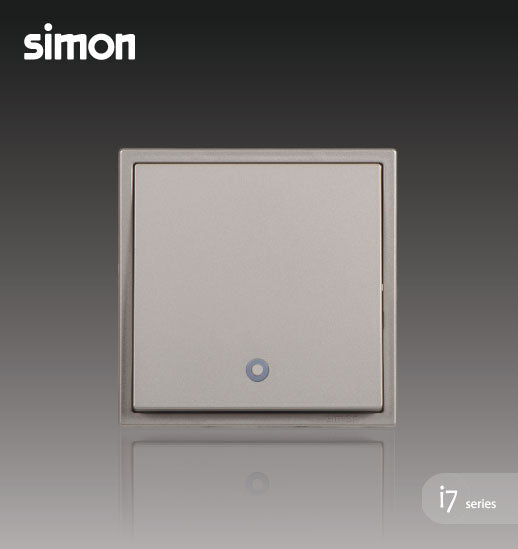 Simon i7 Series 32A 1 Gang 2 Way Double Pole Switch With Blue LED Indicator (Water Heater,Air-Cond) - Golden Champagne