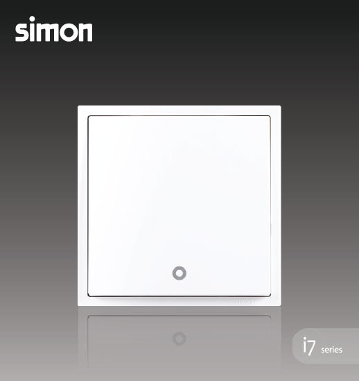 Simon i7 Series 32A 1 Gang 1 Way Double Pole Switch With Blue LED Indicator (Water Heater,Air-Cond) - Matt White