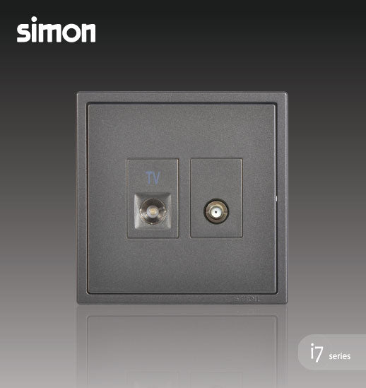 Simon i7 Series 2 Gang TV Outlet & Broadband F-Connector (Astro) Outlet - Graphite Black