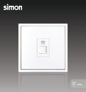 Simon i7 Series 1 Gang Telephone Outlet (RJ11) - Matt White