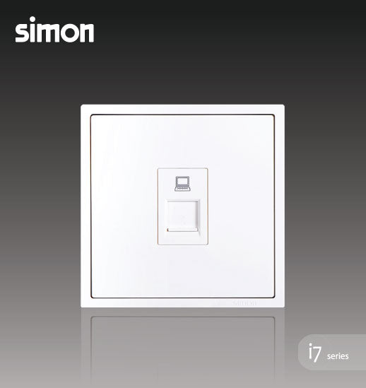 Simon i7 Series 1 Gang Data Outlet Cat 5e (RJ45) - Matt White