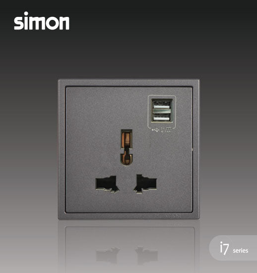 Simon i7 Series 10A Universal Socket Outlet With Double USB Charging Outlet (5v2A) - Graphite Black