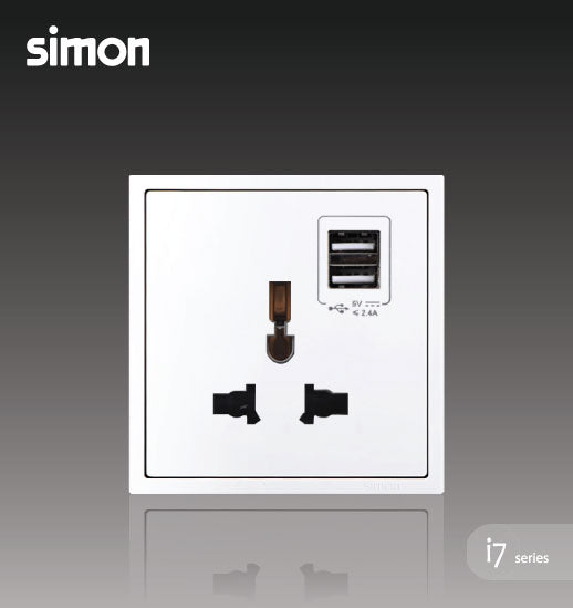 Simon i7 Series 10A Universal Socket Outlet With Double USB Charging Outlet (5v2A) - Matt White