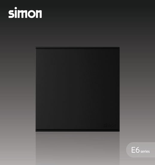 Simon E6 Series 16A 1 Gang 1 Way Switch - Black