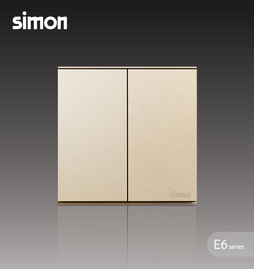 Simon E6 Series 16A 2 Gang 1 Way Switch - Champagne