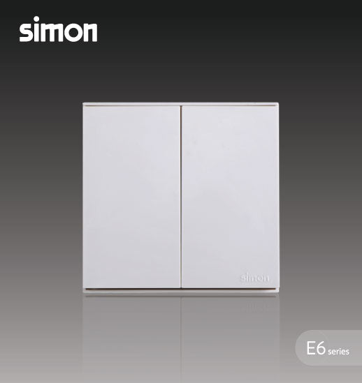 Simon E6 Series 16A 2 Gang 1 Way Switch - White