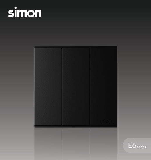 Simon E6 Series 16A 3 Gang 2 Way Switch - Black