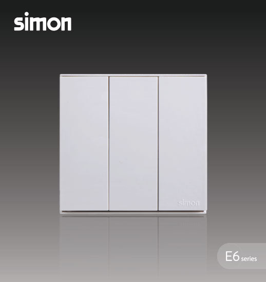 Simon E6 Series 16A 3 Gang 1 Way Switch - White