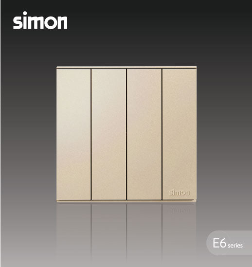 Simon E6 Series 10A 4 Gang 1 Way Switch - Champagne