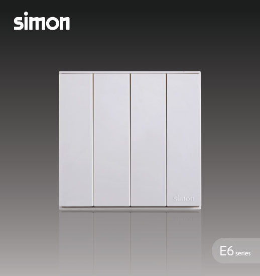 Simon E6 Series 10A 4 Gang 1 Way Switch - White