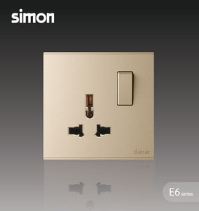 Simon E6 Series 13A Universal Switched Socket Outlet - Champagne
