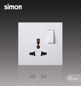 Simon E6 Series 13A Universal Switched Socket Outlet - White