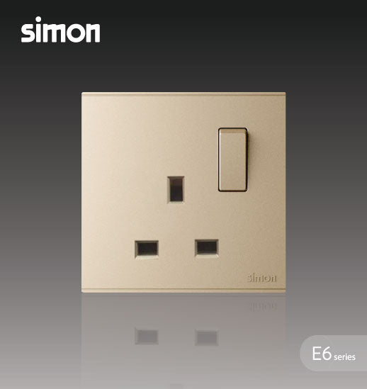 Simon E6 Series 13A 1 Gang Flat Switched Socket Outlet - Champagne