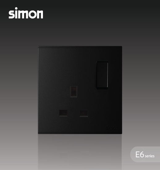 Simon E6 Series 13A 1 Gang Flat Pin Switched Socket Outlet - Black