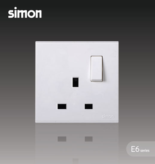 Simon E6 Series 13A 1 Gang Flat Switched Socket Outlet - White