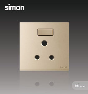Simon E6 Series 15A Round Pin Switched Socket Outlet - Champagne