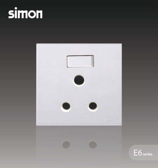 Simon E6 Series 15A Round Pin Switched Socket Outlet - White
