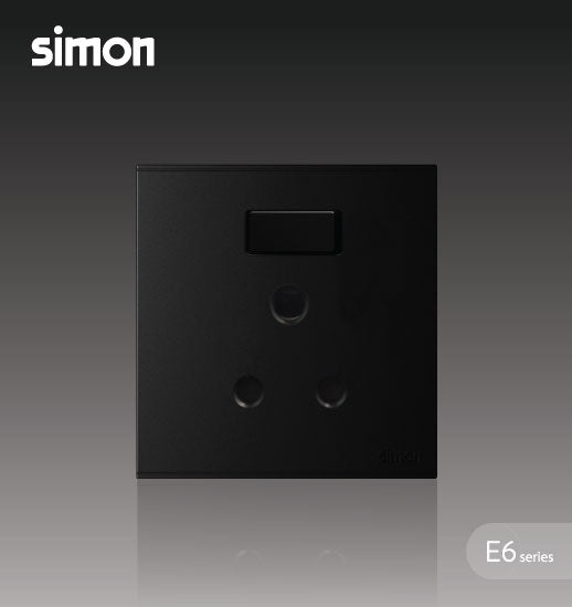 Simon E6 Series 15A Round Pin Switched Socket Outlet - Black