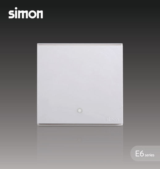 Simon E6 Series 32A 1 Gang 2 Way Double Pole Switch With Blue LED Indicator (Water Heater,Air-Cond) -  White