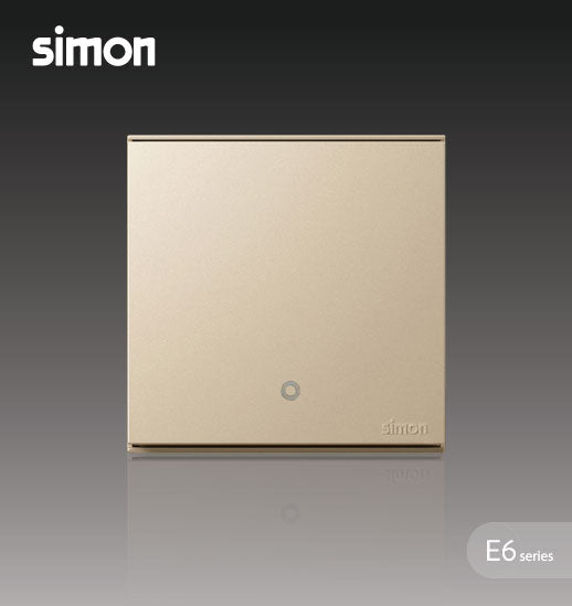 Simon E6 Series 32A 1 Gang 2 Way Double Pole Switch With Blue LED Indicator (Water Heater,Air-Cond) -  Champagne