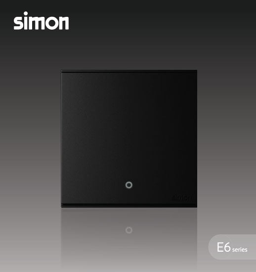 Simon E6 Series 20A 1 Gang 1 Way Double Pole Switch With Blue LED Indicator (Water Heater,Air-Cond) -  Black