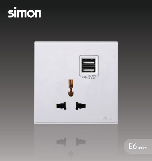 Simon E6 Series 10A Multiple/Universal Socket Outlet with Double USB Charging Outlet (5V 2A)- White