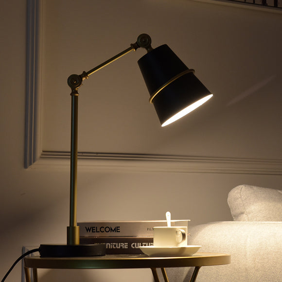 Flex Franklin Black and Gold Table Lamp | Contemporary Design
