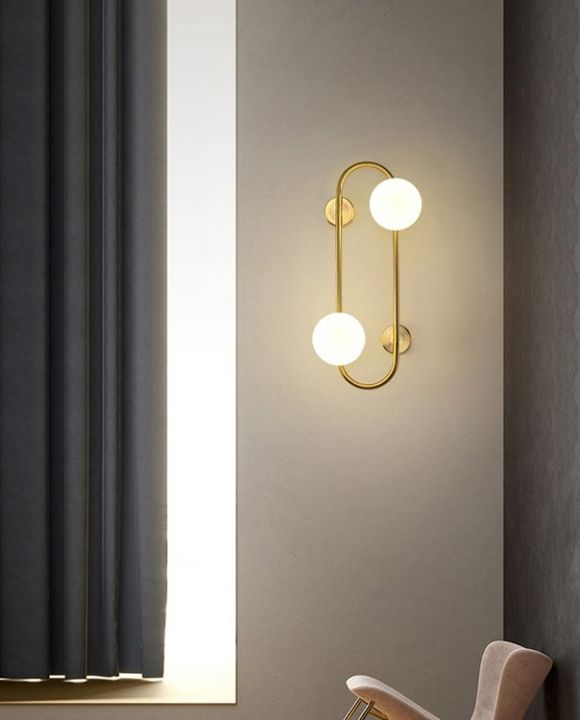 Aldous Dual Glass Balls Gold Wall Lamp | Designer Series