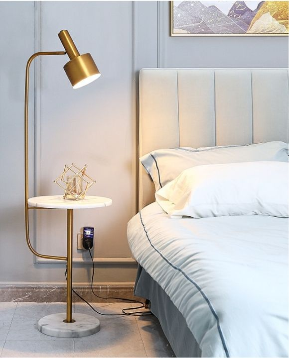 Barats Gold and White Marble Floor Lamp | Modern Series