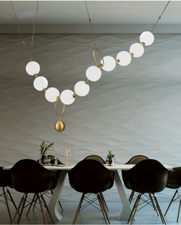 Saber 10 Globes Gold and White Pendant Lamp | Designer Series