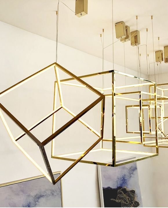 Martis Cube Gold LED Pendant Lamp | High Ceiling Series